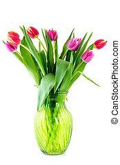 ramo, tulipanes, florero de vidrio