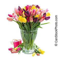 ramo, tulipanes, florero, fresco, primavera