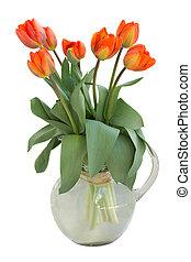 ramo, tulipanes, naranja, florero de vidrio