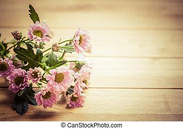 ramo, vendimia, wood., rústico, primavera, flores frescas