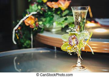 ramo, vidrio, flores, champaña, boda