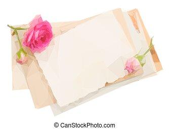 ramo, viejo, papeles, con, rosas