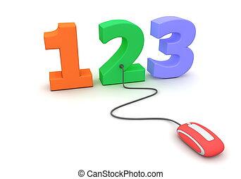 ramonear, ratón, -, números, rojo