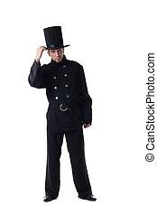 ramoner, poser, déguisement, modèle, mâle, cheminée