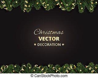 ramos, árvore inverno, experiência., ornaments., feriado, borda, natal