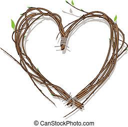 ramos, coração, branca, tecido, isolado