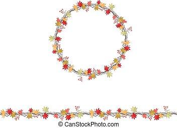 ramos, estação, folhas, grinalda, isolado, white., redondo, maple