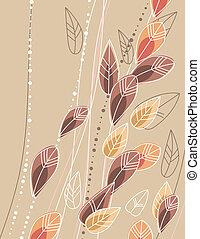 ramos, folhas, stylized, experiência bege, contorno