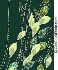 ramos, folhas, stylized, experiência verde, contorno