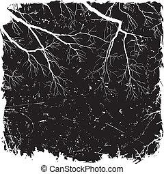 ramos, grunge, fundo