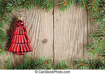 ramos, madeira, árvore, decoração, fundo, natal