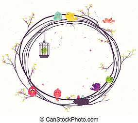 ramos, pássaros, coloridos, sentando