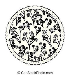 ramos, padrão, quadro, monocromático, flores, redondo