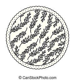 ramos, padrão, quadro, redondo, ovoid, monocromático, folhas