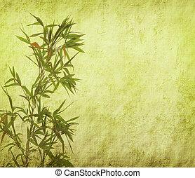 ramos, papel, fundo, bambu, silueta