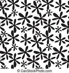 ramos, pretas, folhas, seamless, branca