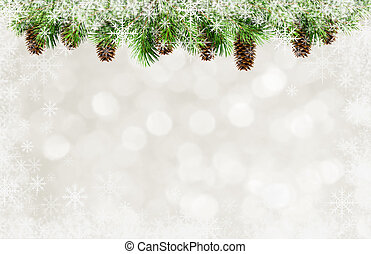 ramos, snowflakes, quadro, árvore, natal, cones