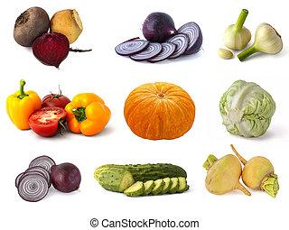ramoscello, cavolo, peperoni, bianco, aglio, cipolle, campana, zucca, barbabietole, pomodori, verde, autunno, rosso, rape, raccogliere, sfondo arancia