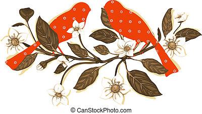 ramoscello, uccelli, fiori bianchi, composizione, rosso