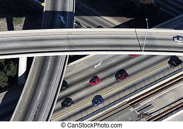 Ramp Aerial - Los Angeles freeway aerial. light.