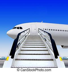 ramp at airport near white plane