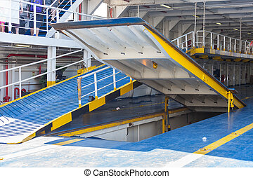 Ramp for cars on the ferry for decks.