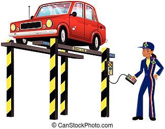 rampa, automóvil, hidráulico
