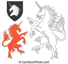rampant, illustrazione, unicorno