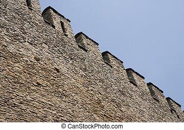 Stone rampart in a castle