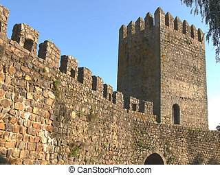 Ramparts and tower of ancient fortress in Rural Portugal