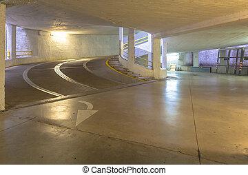 rampe, stationnement, italie, garage, béton