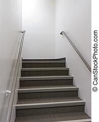 rampes, allumé, regarder, puits, escalier