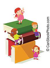 rampicante, bambini, libri, pila