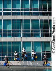 rampicante, lavorante, su, costruzione ufficio