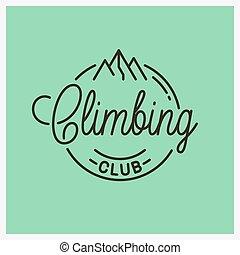 rampicante, logo., lineare, montagne, club, rotondo
