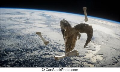 rams skull with bones at Earth orbit. elements furnished by Nasa