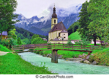 Ramsau church and river in Germany Alps, beautiful landscape