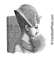 ramses, -, 中央, ファラオ, エジプト, ii, 骨董品, 彫版, '800