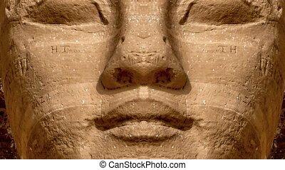 Ramses II, Abu Simbel - Mirror effect of the Ramses II face...