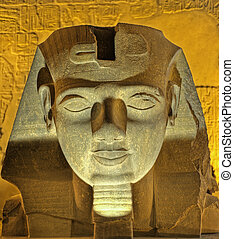 Ramses II head at Luxor Temple - Statue of head of Ramses II...