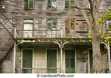 Ramshackle house - Big old decrepit house, with shuttered...