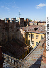 Ramshackle - View from old rusty roof on courtyard. Saint-...