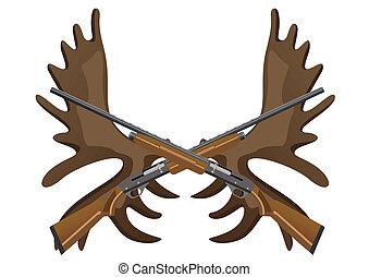 ramure, élan, fusils, chasse