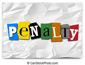 rançon, pénalité, honoraires, lettres, note, coupure, mot, punition, dehors
