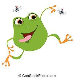 rana, allegro, cartone animato, zanzara, due, illustrazione