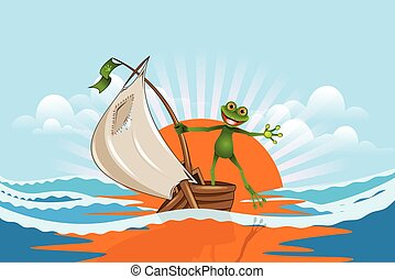 rana, barca, mare, illustrazione, allegro