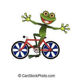 rana, bicicletta, allegro, illustrazione riserva