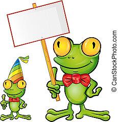 rana, cartone animato, con, cartello