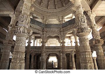 Ranakpur Jain Temple - a temple hall of the Jain Temple in...