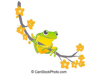 ranarama - frog on a branch